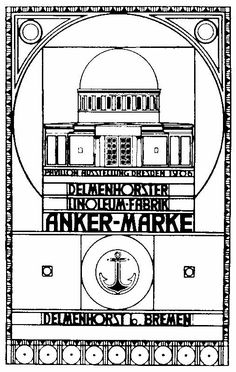 Peter Behrens, poster for the Anchor Linoleum exhibition pavilion, 1906. Lauweriks's grid theory is applied to graphic design.