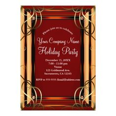 #party - #Red & Gold Elegant Company Corporate Holiday Party Card