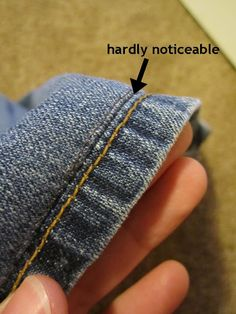 how to hem denim and keep factory edge - brilliant. Short people can have yellow hems, now.