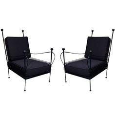 Pair of Blue Powder Coated Outdoor Lounge Chairs
