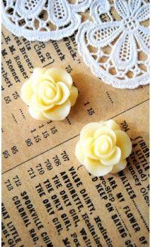 Lot de 2 Roses 16 mm couleur blanc pour bijoux et scrapbooking