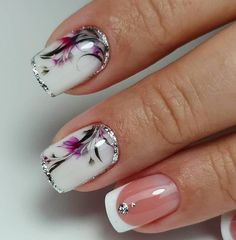 Want some ideas for wedding nail polish designs? This article is a collection of our favorite nail polish designs for your special day. Square Nail Designs, Flower Nail Designs, Short Nail Designs, Nail Polish Designs, Nail Art Designs, Nails Design, Wedding Nail Polish, Nail Wedding, Gel Nagel Design