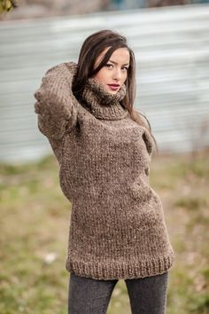 Thick Sweaters, Girls Sweaters, Pullover Sweaters, Women's Sweaters, Sweater Outfits, Wool Coat, Turtle Neck, Knitting, Womens Fashion