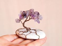 Wire tree sculture with Amethyst in natural beach stone Bonsai