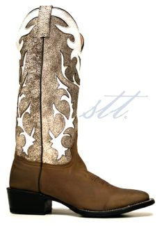 0a83a7ab383 Stetson Men s Oiled Brown  amp  Antique White Buckaroo Cowboy Boots --  These boots look