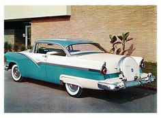 1956 Ford Fairlane Victoria with Continental Spare Wheel Kit - Today Pin Ford Motor Company, Auto Retro, Ford Classic Cars, Ford Lincoln Mercury, Old Fords, Ford Fairlane, Henry Ford, Unique Cars, Us Cars