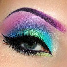 Blue and green with purple eyebrows