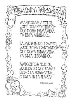 Poemas y rimas infantiles de la primavera para niños: Spanish Teacher, Spanish Classroom, Teaching Spanish, Teaching Resources, Spanish Songs, Spanish Lessons, Vintage Funny Quotes, Preschool Poems, Spring Poem