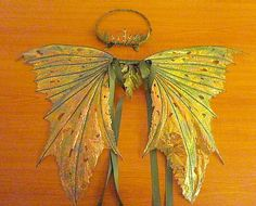 Fairy Wings Crown or Circlet-Ooak-Green Oberon Adults by chloe6788