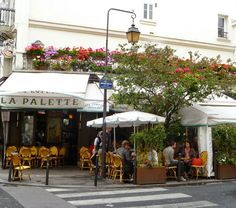 Café La Palette, 43 Rue de Seine @ the corner with rue Jaques-Callot, Paris 6e. The bistro is traditionally a gathering place for Fine Arts students, nearby gallery owners and artists. La Pallete was frequented by Cézanne, Picasso and Brauqe and later by Ernest Hemingway and Jim Morrison.