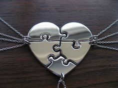 A perfect bridesmaid gift. Five Piece Heart Puzzle Necklace Pendants by GorjessJewellery