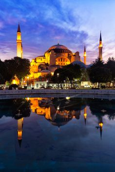 One of Istanbul's mosques in a perfect reflection. #Istanbul #travel #reflections