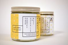 yellow and white jar labels | Packaging Design