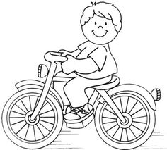 Coloring For Kids, Coloring Books, Tractor Coloring Pages, Bike Illustration, Printable Adult Coloring Pages, Educational Crafts, Bicycle Art, School Decorations, Drawing For Kids
