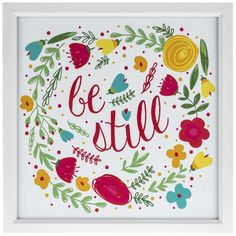 Be Still Floral Framed Art - TONS of wall art for collage at hobby lobby!