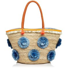 Milly Pom-Pom Straw Tote (96 KWD) ❤ liked on Polyvore featuring bags, handbags, tote bags, white purse, white tote, tote hand bags, straw handbags and tote bag purse