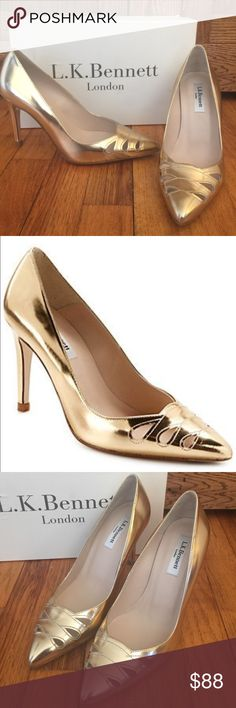 "😍 NEW LK Bennett ""Monique"" pumps! Sz 38 GORGEOUS gold leather heels with cutouts from Lk Bennett! Still has protective film on soles. Sz 38 LK Bennett Shoes"