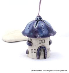 Purple Lavender Summer House of tiny fairies with a bead-bird -- Ceramic Bell by studio Vishnya. $23.00, via Etsy.