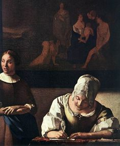 Lady Writing a Letter with Her Maid [detail: 1] by Johannes Vermeer #art