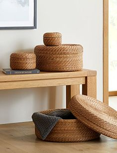 storage + organization Objet Deco Design, 60s Furniture, Oversized Furniture, Wood Slats, Custom Rugs, Storage Organization, Storage Baskets, Coffee Table With Storage, Dresser Drawers