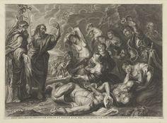 Cornelis Galle (I)   De koperen slang, Cornelis Galle (I), Peter Paul Rubens, 1602 - 1650   De Israëlieten worden geteisterd door een gifslangen plaag. Mozes probeert het volk te helpen en vraagt aan God wat te doen. Hij maakt een koperen slang en zet die op een houten stok neer. Wie naar het beeld van de slang kijkt sterft niet door het gif van de slangen.