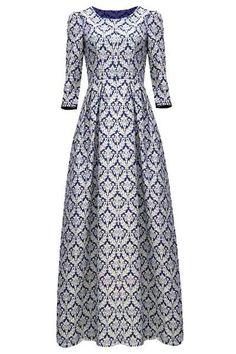 208103bdc258 2017 Floral Print Vintage Round Neck 3 4 Sleeve Maxi Dress For Women  Roztomilé Šaty
