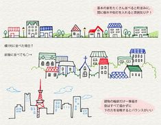 Doodles hand drawn simple lines buildings Kawaii Drawings, Doodle Drawings, Easy Drawings, Doodle Art, Drawing Sketches, Pen Illustration, Illustrations, Bujo Doodles, Japanese Drawings