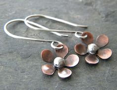 Copper Flower Sterling Silver Earrings Artisan Mixed Metal Jewelry - Made to Order. $32.00, via Etsy.