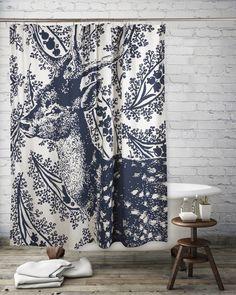 Deer Transferware Shower Curtain design by Thomas Paul