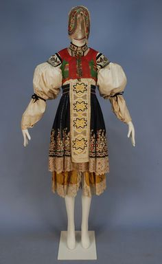 Moravian kroj or Czech folk costume, C Historical Costume, Historical Clothing, Folk Clothing, Folk Fashion, Ethnic Fashion, Embroidered Caps, Embroidered Blouse, European Costumes, Costumes Around The World