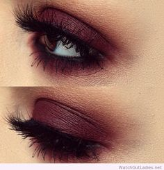 Burgundy eye make-up idea