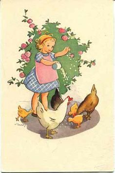 little girl and chickens