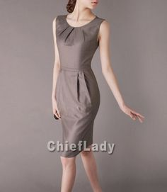 Business Casual Dress Khaki Summer Elegant Dress Pleated Preppy Chic Style Day Dresses Sleeveless Women Outfit Plus Size Chieflady CW53