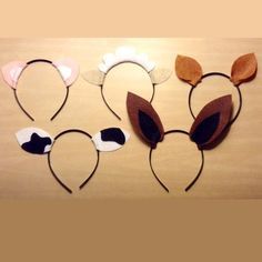 Barnyard farm animals theme ears headband birthday party favors photo booth prop costume ideas dress up invitation decor supplies package by Partyears on Etsy https://www.etsy.com/listing/204534057/barnyard-farm-animals-theme-ears