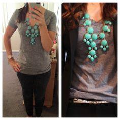 tee + black skinny jeans + oversized watch + statement necklace + blazer