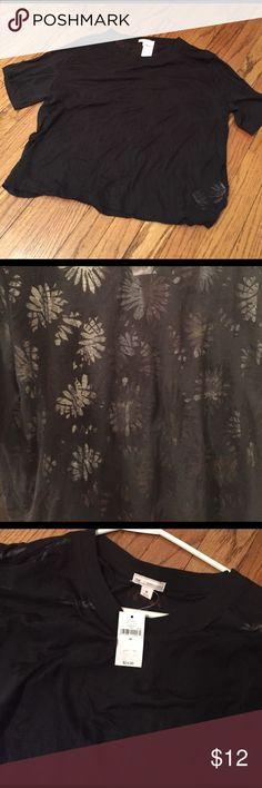Floral Sheer Top Black Tee w/ Sheer Floral Prints. Short Sleeved. Size Medium. NEVER WORN! GAP Tops