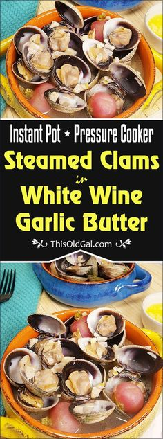 Instant Pot Steamed Clams in Wine Garlic Butter – Low Carb, Keto Not only is Pressure Cooker Steamed Clams in White Wine Garlic Butter Low Carb, Keto and Gluten free, it is seriously delicious and so easy to make. via This Old Gal Clam Recipes, Low Carb Dinner Recipes, Baby Food Recipes, Seafood Recipes, Appetizer Recipes, Vegetarian Appetizers, Crockpot Recipes, Keto Recipes, Instant Pot Pressure Cooker