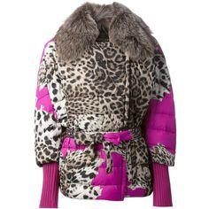 ROBERTO CAVALLI animal print padded jacket (37.420 CZK) ❤ liked on Polyvore featuring outerwear, jackets, roberto cavalli jacket, feather jacket, padded jacket, brown jacket and roberto cavalli