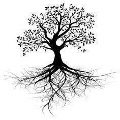 Whole black tree with roots - vector. Whole black tree with roots isolated white , Tatoo Tree, Tree Roots Tattoo, Bodhi Tree Tattoo, Tree Tattoo Meaning, New Tattoos, Body Art Tattoos, Phoenix Tattoos, Illustration Tattoo, Muster Tattoos