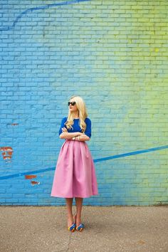 blue shirt with lavender skirt and cute shoes