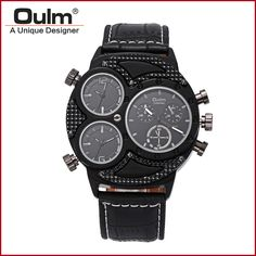 2016 New Arrival Men Design Factory Selling Wrist Watch Oulm Brand Hot Model HP3594-2 Three Time Zone Fashion Casual Style