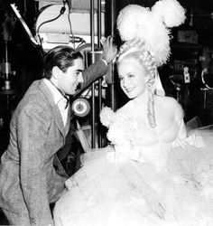 Tyrone Power & Norma Shearer behind the scenes photo while filming Marie Antoinette wearing Joseff Hollywood Jewelry