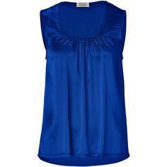 STEFFEN SCHRAUT Magic Blue Silk-Satin Martha Sleeveless Top ($190) ❤ liked on Polyvore