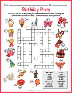 Free Printable Birthday Party Crossword Free Printable Birthday Party Crossword,KGS School FREE Birthday Party Printable – Birthday Crossword Related posts:Another Hidden Meaning Brain Teaser Game - sudokuWorksheets: Math Crossword Puzzles. Learning English For Kids, English Worksheets For Kids, English Activities, Kids Learning, Preschool Activities, Word Puzzles For Kids, Puzzles Für Kinder, Free Printable Crossword Puzzles, Free Birthday