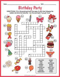 FREE Birthday Party Printable - Birthday Crossword #birthdayparty #birthdaypartyideas #partygames #puzzle