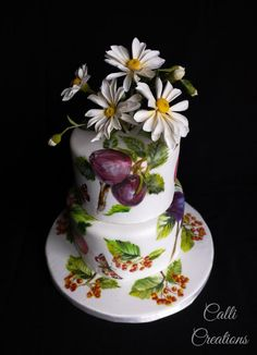It was my beautiful daughter-in-law's birthday recently, and was inspired by a afternoon tea paper cerviette design when I hand painted this two tier and lemon drizzle cake, filled with whipped lemon curd and white chocolate buttercream,. Passion Fruit Cake, Fresh Fruit Cake, Spring Cake, Summer Cakes, Pretty Cakes, Beautiful Cakes, Satin Ice Fondant, Wedding Cake Cookies, Lemon Drizzle Cake
