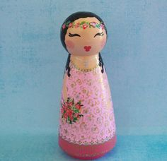 Hand Painted Love Boxes Rose Princess Peg Doll by handpaintedloveboxes via etsy 45 dollars