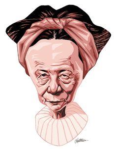 Simone de Beauvoir by Brazilian cartoonist Baptistão, 2008.