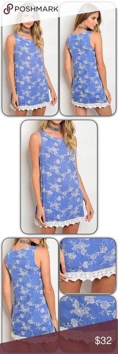 """Chic Lace Hem Embroidered Floral Tunic Dress ML Absolutely Gorgeous & Chic Crochet Lace Hem Tunic Dress. Denim blue with ivory embroidered floral pattern & fully lined. Soft & flowy rayon. Wear alone or pair with leggings/skinnies.   Medium 6/8 Bust 34-36 Length 32""""  Large 10/11 Bust 38-40 Length 33 Dresses"""