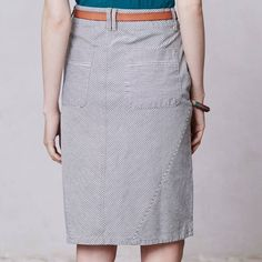 "Pilcro navy and white striped skirt Versatile foundation piece!  This a line skirt sports navy and blue ""railroad"" stripes at different angles with seaming detail and front  and back pockets. Anthropologie Skirts"